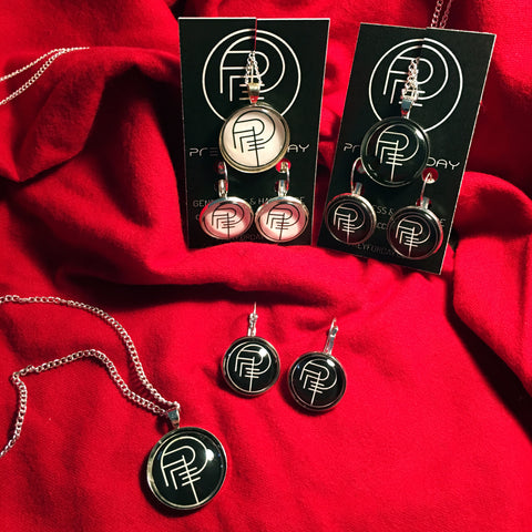 PREY FOR DAY SIGIL necklace/earring set (silver)