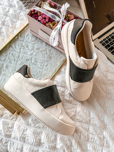 Sneakers Atlanta White Coco Faux Cuir Black Stripe