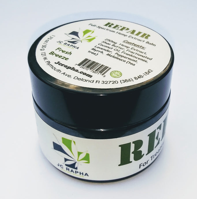 JC Rapha REPAIR Full-Spectrum Hemp Extract Skin Care Treatment Butter Balm , Fresh Breeze, 1.75 fl.oz.