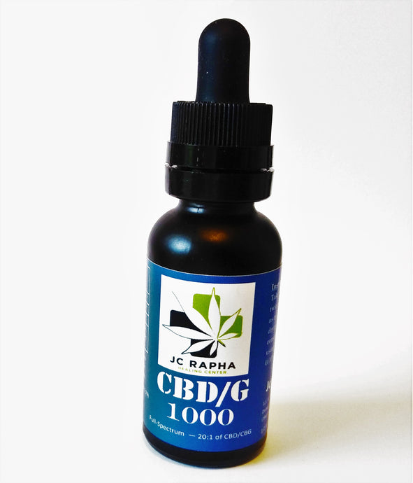 JC Rapha CBD/CBG 1000 Full-Spectrum Hemp Extract Oil w/ Additional CBG, 30mL