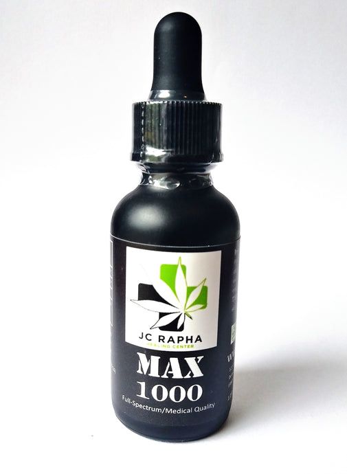 JC Rapha 'MAX' Strength 1000 Full-Spectrum Hemp Extract Oil Tincture, Original, 30mL/1 fl oz