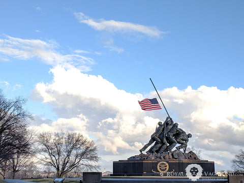 U.S. Marine Corps War Memorial in Arlington whispers in honor of sacrifices in Pacific and around world
