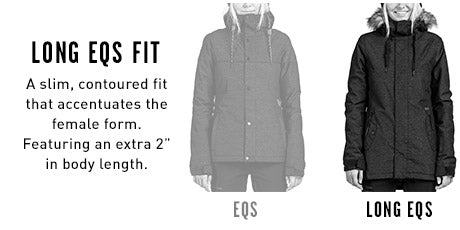 Womens Snow Jacket Long EQS Fits