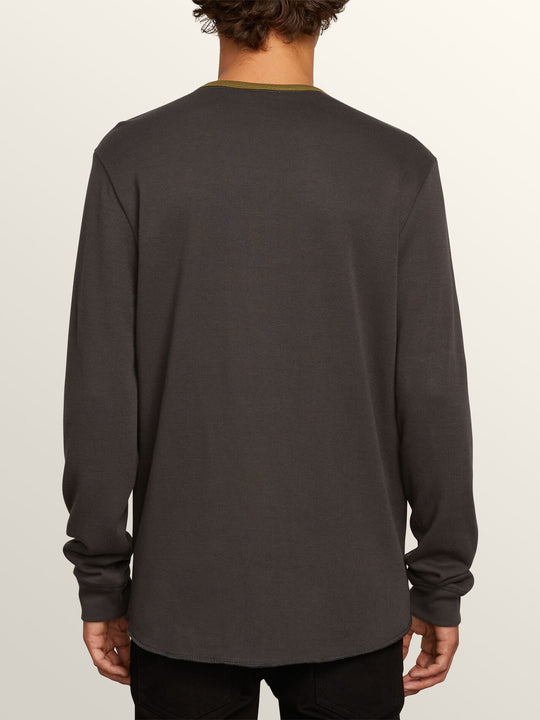 Layer Stone Crew Long Sleeve Tee In Asphalt Black, Back View