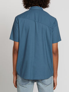 Everett Oxford Short Sleeve Woven Shirt In Sea Navy, Back View