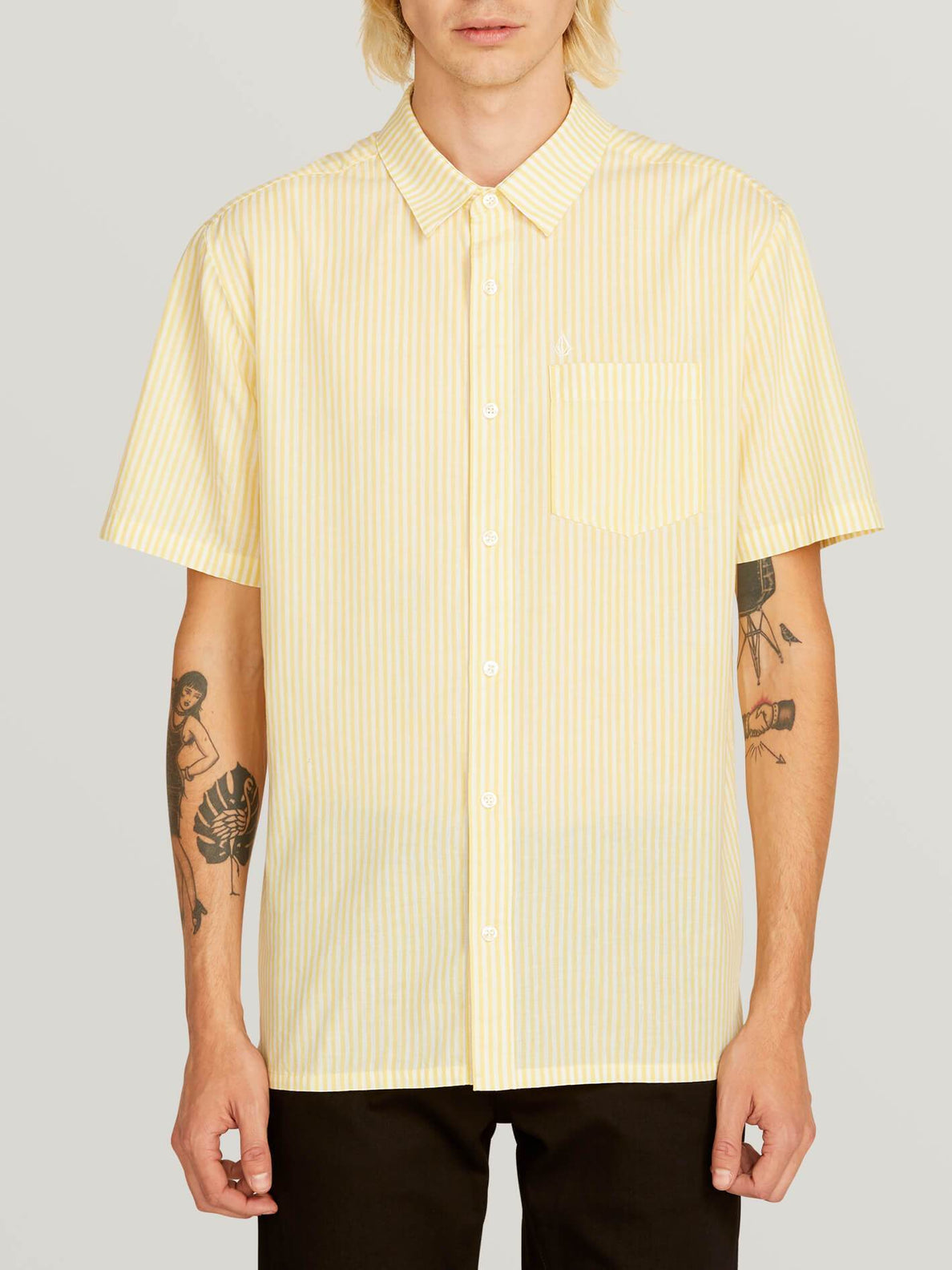 Kramer Short Sleeve Shirt In Lime, Front View