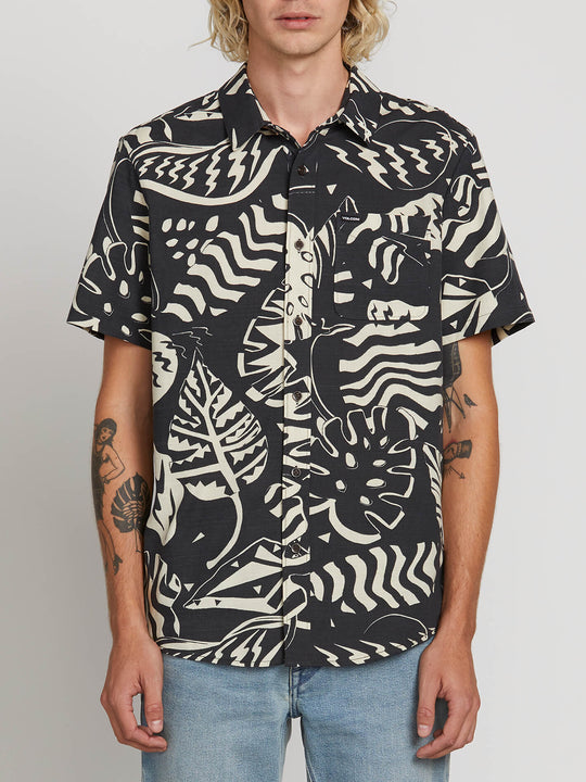 Scrap Floral Short Sleeve Shirt In Asphalt Black, Front View