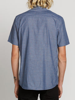 Mark Mix Short Sleeve Shirt In Tidal Blue, Back View