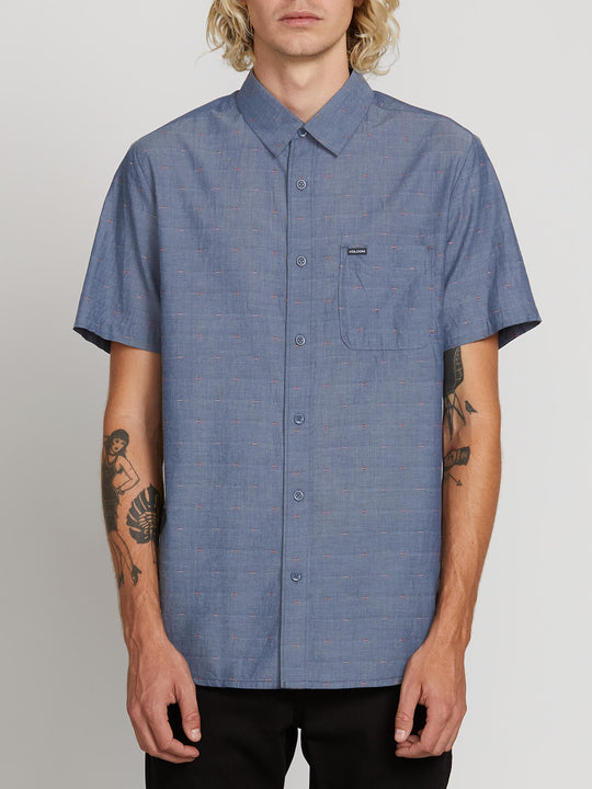 Mark Mix Short Sleeve Shirt In Tidal Blue, Front View