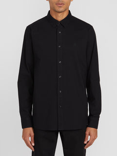 Oxford Stretch Long Sleeve - New Black (A0511801_NBK) [F]