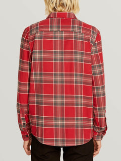 Caden Plaid Long Sleeve Flannel In Burgundy, Back View