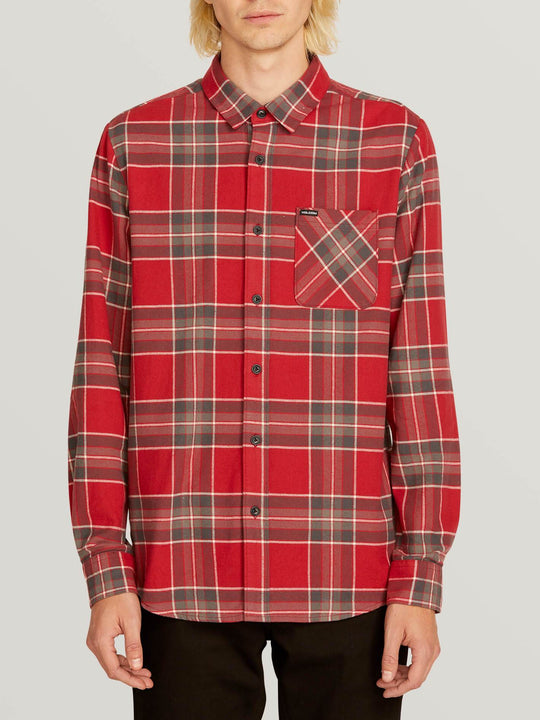Caden Plaid Long Sleeve Flannel In Burgundy, Front View