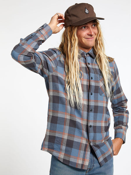 Caden Plaid Long Sleeve - Stormy Blue