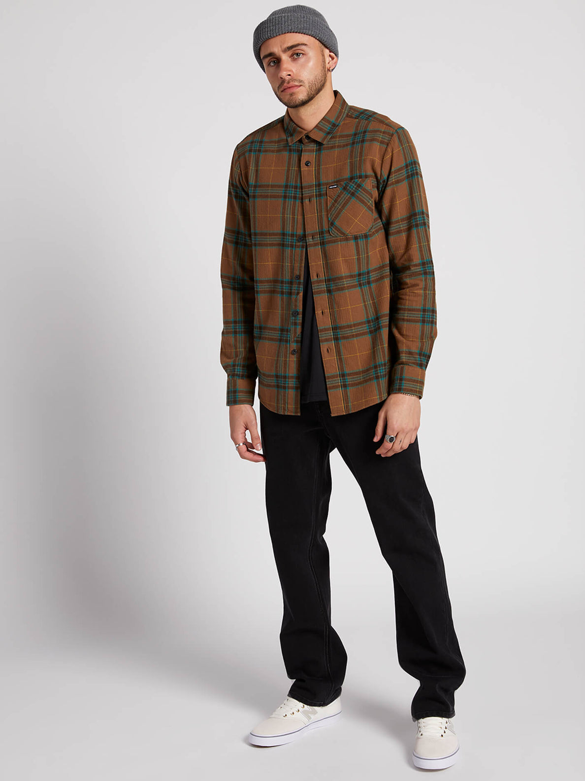 Caden Plaid Long Sleeve - Mud (A0531906_MUD) [1]