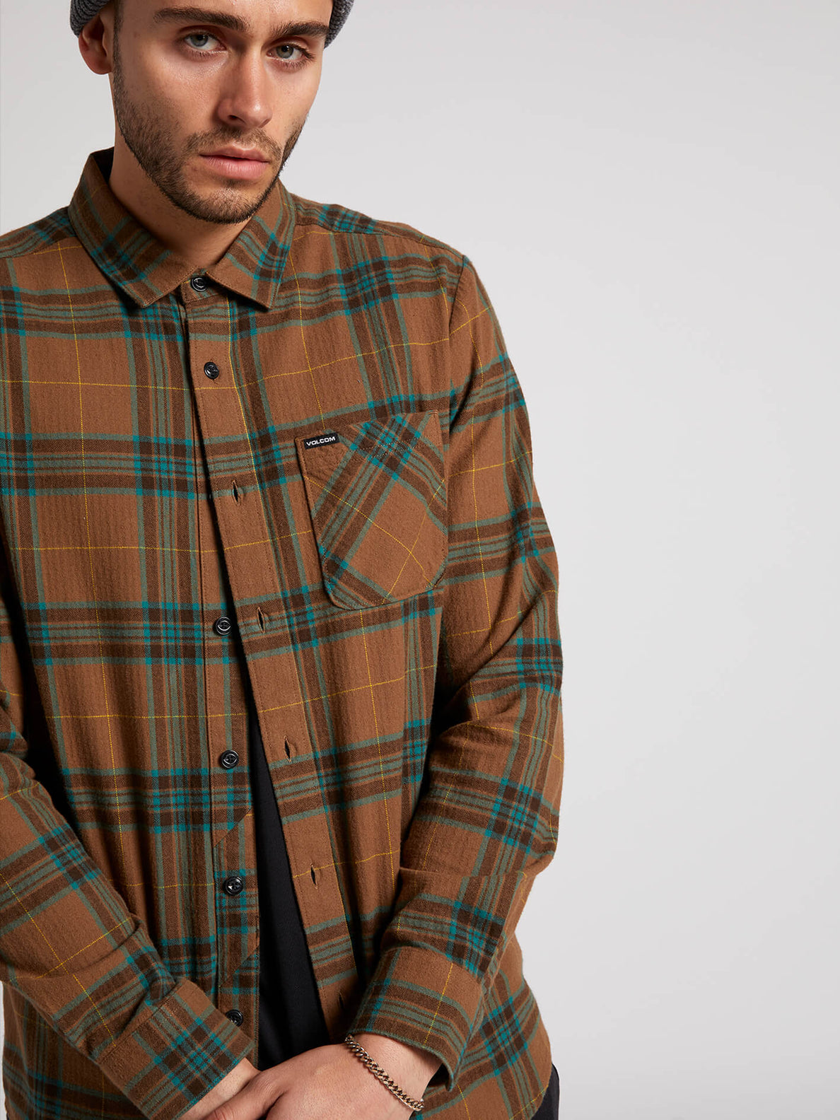 Caden Plaid Long Sleeve - Mud (A0531906_MUD) [2]