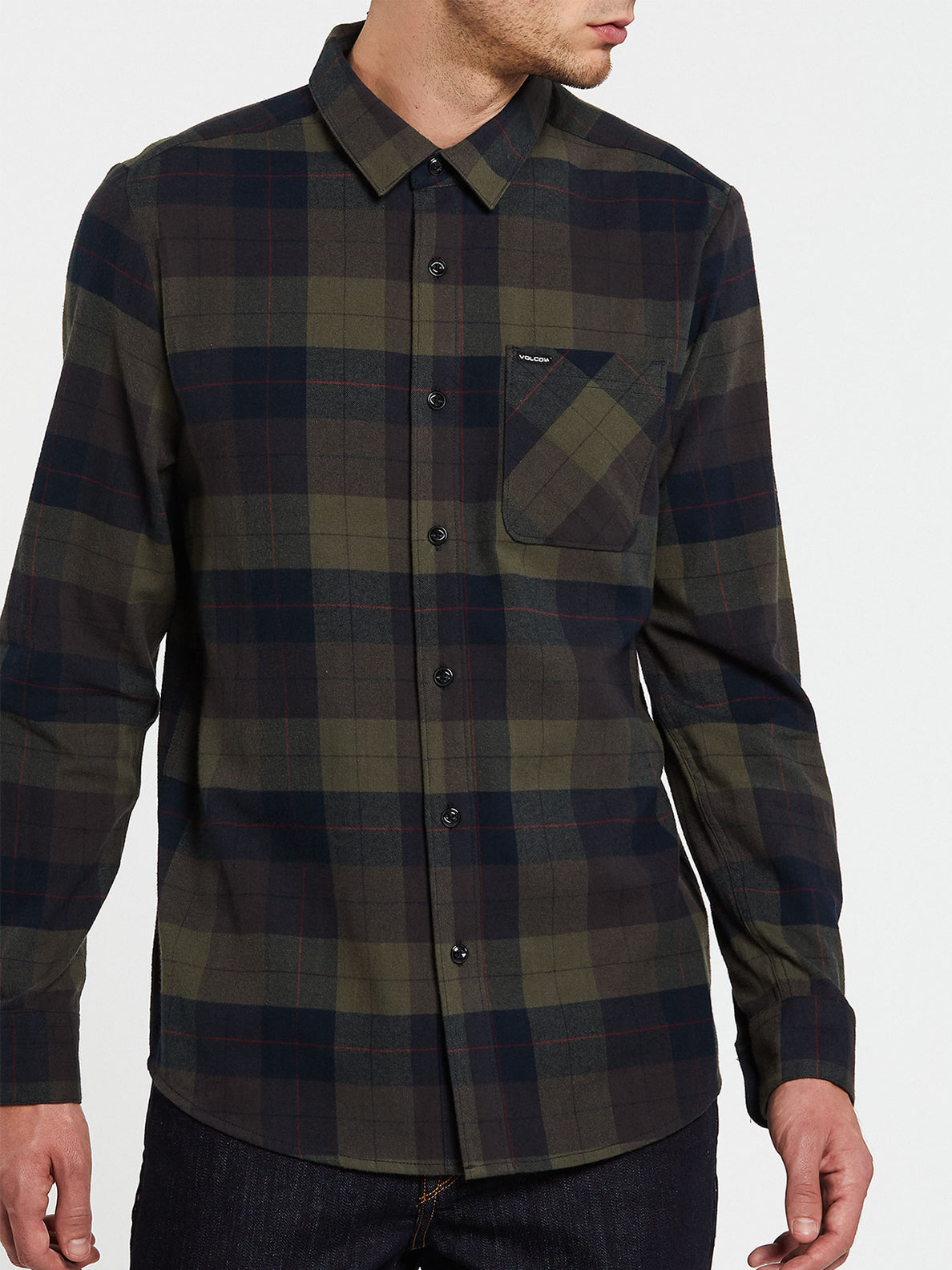 Caden Plaid Long Sleeve  Flannel - Army Green Combo (A0532005_ARC) [2]