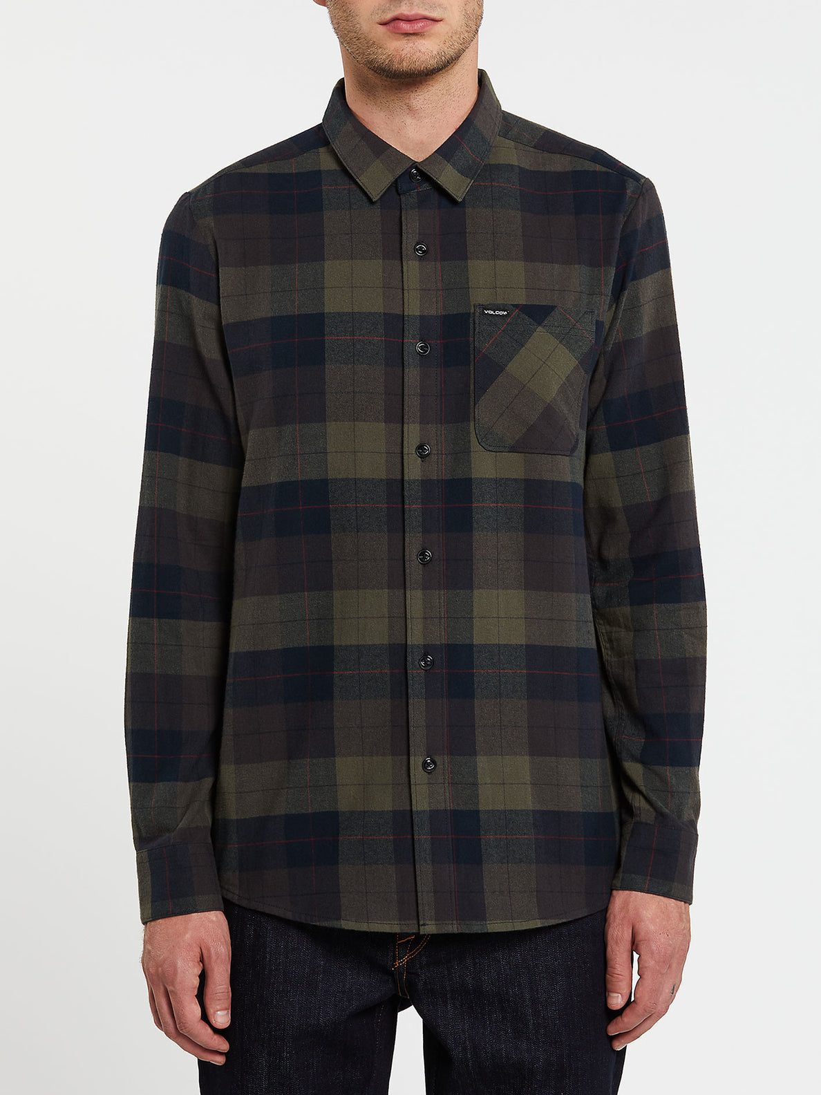 Caden Plaid Long Sleeve  Flannel - Army Green Combo (A0532005_ARC) [F]
