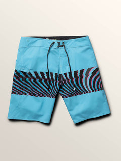 Macaw Mod Boardshorts In Neon Blue, Third Alternate View