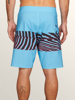 Macaw Mod Boardshorts In Neon Blue, Back View
