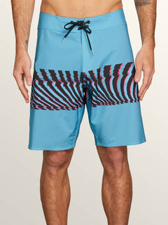 Macaw Mod Boardshorts In Neon Blue, Front View