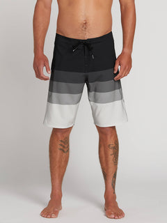 Lido Liney Mod Boardshorts In Black, Front View