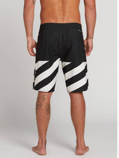 Stone Plus Mod Boardshorts In Black White, Back View