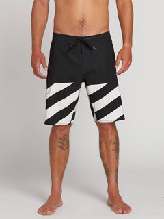 Stone Plus Mod Boardshorts In Black White, Front View