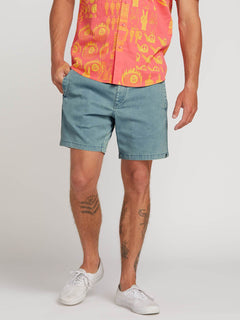 Flare Shorts In Vintage Blue, Front View