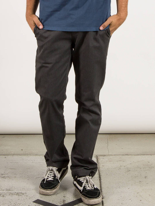 Frickin Modern Stretch Chino Pants In Charcoal Heather, Front View