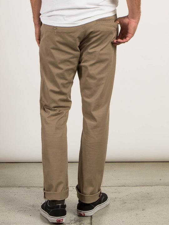 Frickin Modern Stretch Chino Pants In Khaki, Back View