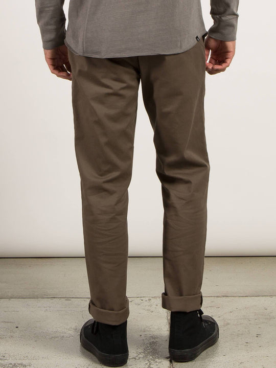 Frickin Modern Stretch Chino Pants In Mushroom, Back View