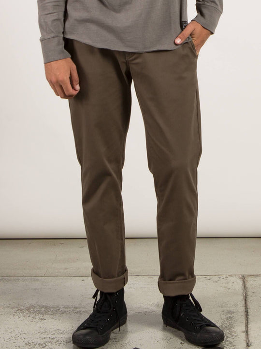 Frickin Modern Stretch Chino Pants In Mushroom, Front View
