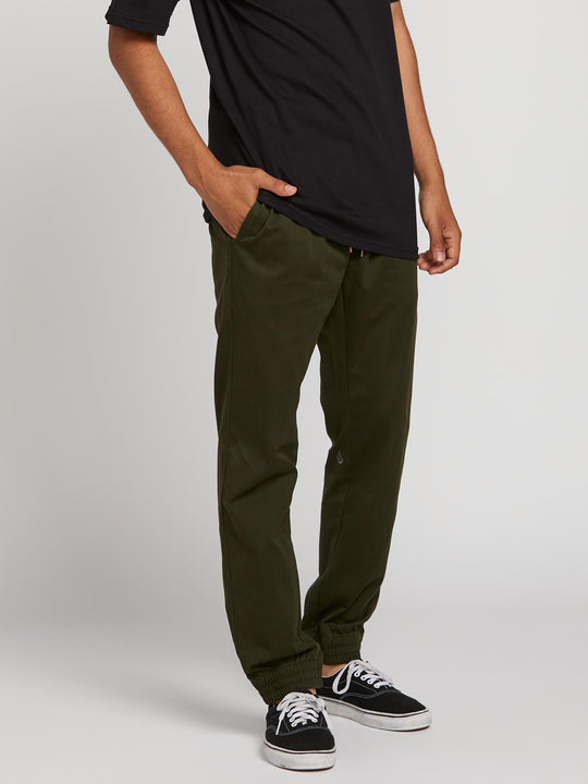 Frickin Slim Jogger Pants In Dark Green, Front View