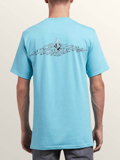 Dimensional Short Sleeve Tee In Blue Bird, Back View