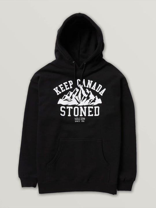 Stoned Pullover Fleece In Black, Front View