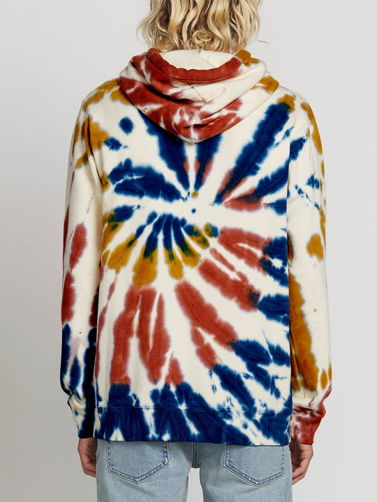 Deadly Stone Pullover Hoodie In Tie Dye, Back View