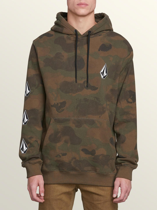 Deadly Stones Pullover Hoodie In Camouflage, Front View