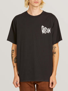 Volcom Panic Short Sleeve Tee In Black, Front View