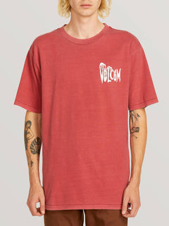 Volcom Panic Short Sleeve Tee In Burgundy, Front View