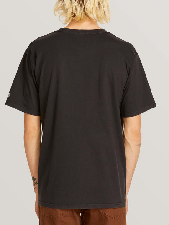 Custom Basic Solid Short Sleeve Tee In Black, Back View