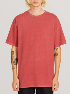 Custom Basic Solid Short Sleeve Tee In Burgundy, Front View