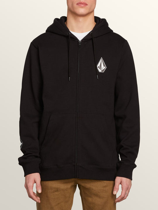 Deadly Stone Zip Hoodie In Black, Front View