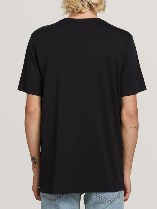 Spray Stone Short Sleeve Tee In Black, Back View