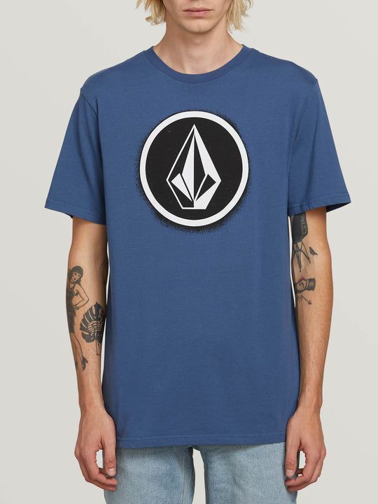 Spray Stone Short Sleeve Tee In Indigo, Front View