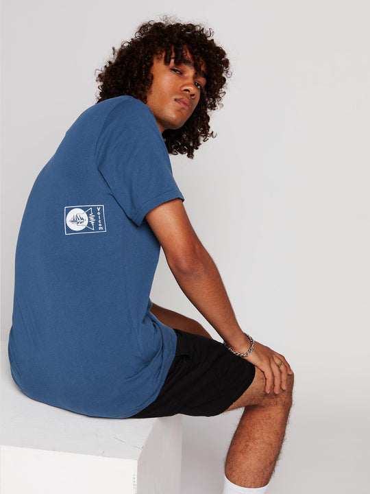 Audio Waves Short Sleeve Tee In Indigo, Third Alternate View