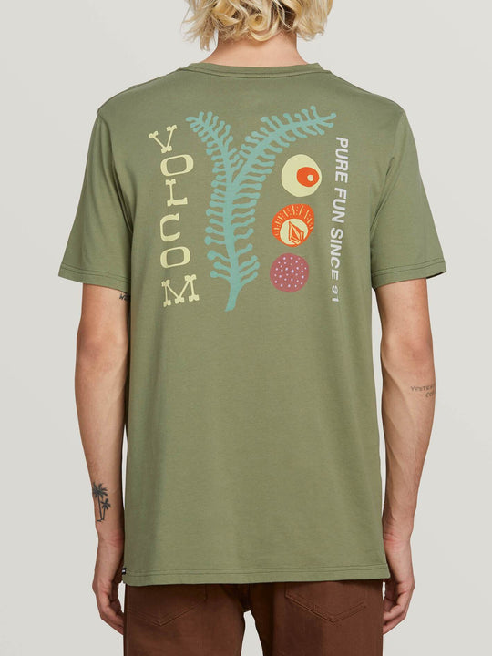 Natural Fun Short Sleeve Tee In Dusty Green, Back View
