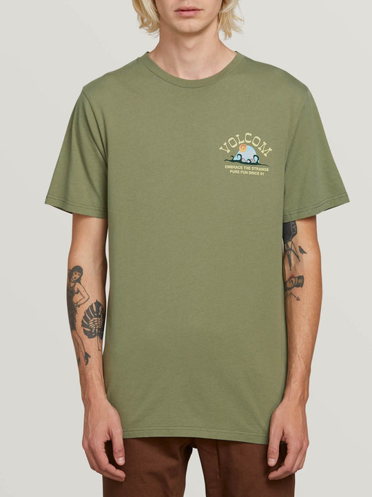 Natural Fun Short Sleeve Tee In Dusty Green, Front View