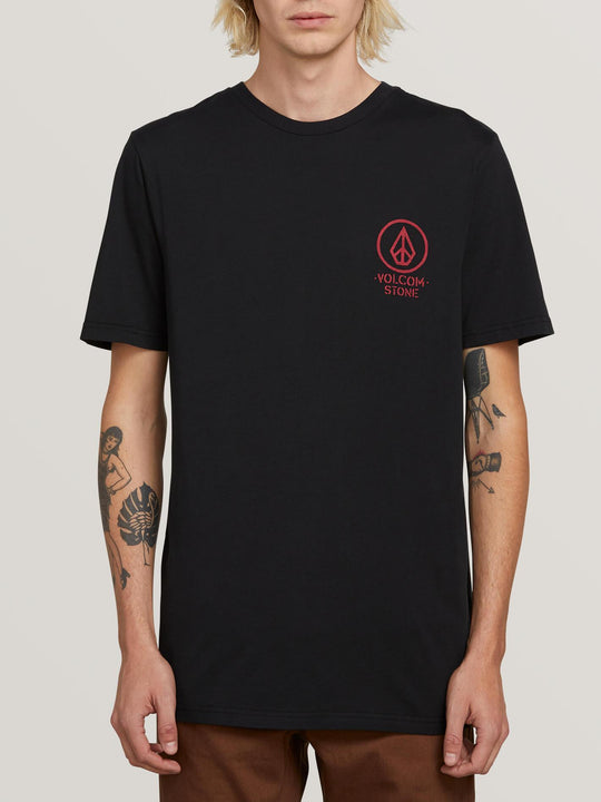 Crowd Control Short Sleeve Tee In Black, Front View