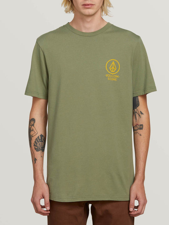 Crowd Control Short Sleeve Tee In Dusty Green, Front View