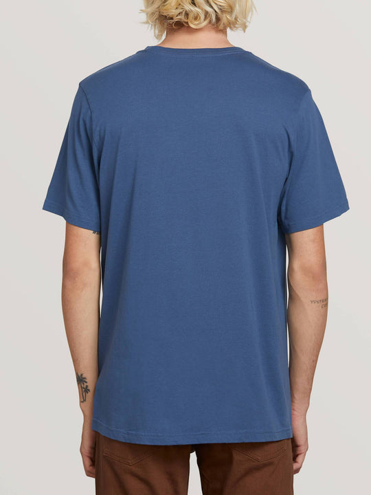 Stone Sounds Short Sleeve Tee In Indigo, Back View